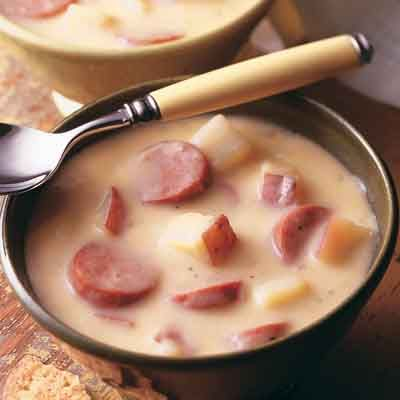 This hearty potato soup recipe is perfect for a quick weeknight meal.