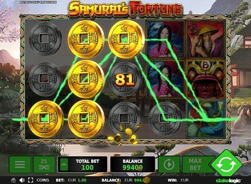 Игровой автомат Samurai's Fortune на реальные деньги Компания Stakelogic выпустила аппарат Samurai's Fortune, вдохновившись историей Японии. В нём вам предстоит играть на 25 линиях. Получить крупные суммы реальных денег в этом игровом автомате помогут специальные символы, фриспины и повторные вращения.