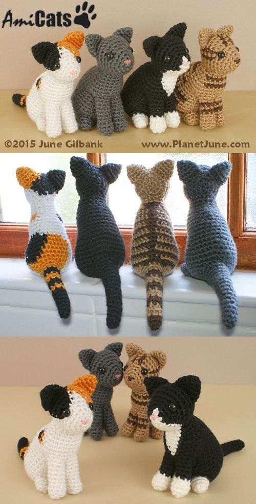 Amigurumi cats, crochet patterns for sale by PlanetJune
