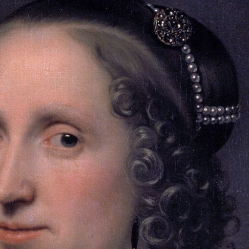 Particolari numero 4. Bartolomeus van der Helst: Ritratto di donna. Olio su tela…