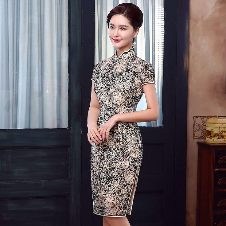 Attractive Epiphyllum Flowers Qipao Cheongsam Dress - Qipao - Cheongsam - Women