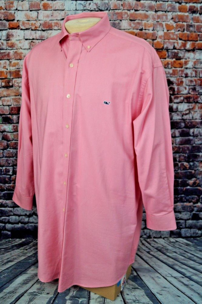 Vineyard Vines Whale Shirt Oxford Button Down Long Sleeve Cotton Pink Mens XL #VineyardVines #ButtonFront