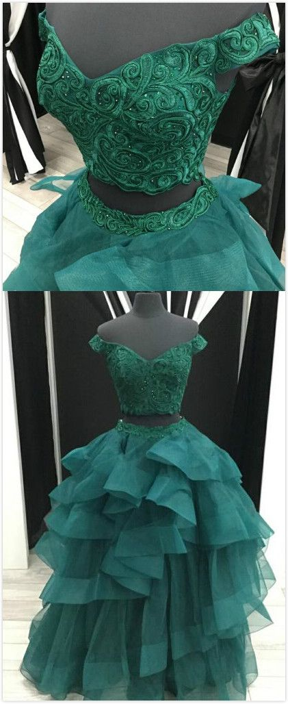 Elegant Two Piece Prom Dress,Sexy Tulle Prom Dress,Lace Prom Dress,A-Line Off-The-Shoulder prom Dress,Green Tiered Long Prom Dress With Appliques