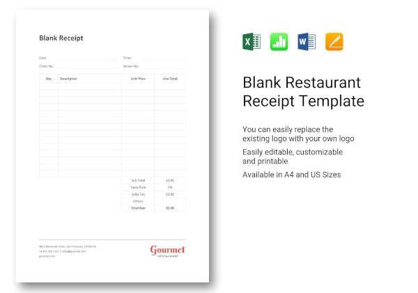 Restaurant Receipt Template Receipt Template Templates Document Templates