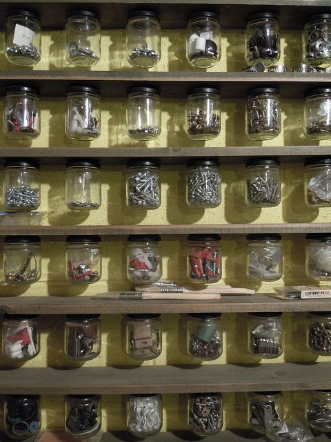 This is why I've been hoarding all my used jam jars. Screw the lid to the underside of a shelf and hey presto! Classic viewable workshop storage! Garage