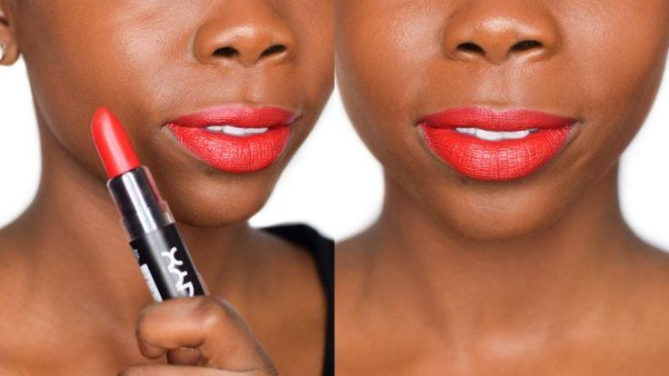 NYX Eden Matte Lipstick - Review & Dark Skin Swatch - Epiphanniea.co.uk - @Epiphanniea - Red Lipstick