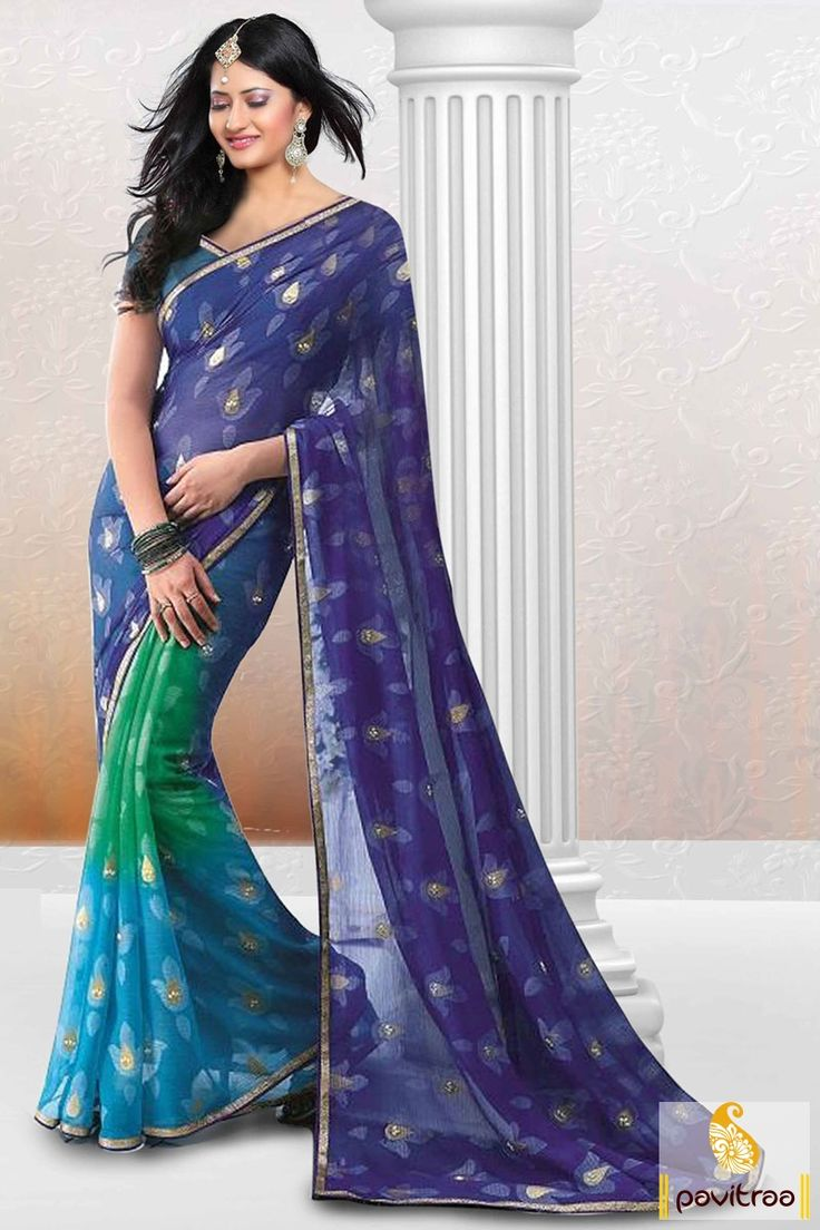 Pavitraa Cobalt Blue with Ice Blue Printed Party Wear Saree