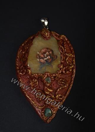 Gallery of Pendants: The rose of a gold seed pendant , jasper Az aranymag rózsája medál , jáspis www.henigaleria.hu