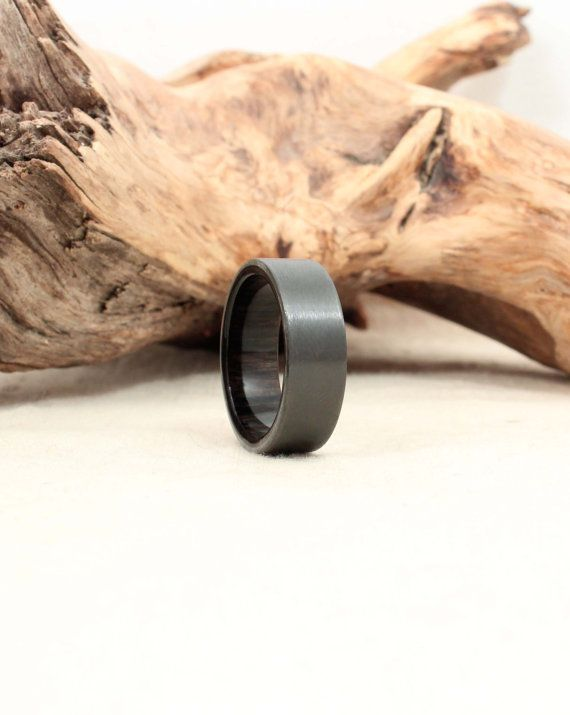 Black Zirconium Wood Ring Lined with Ancient Bog Oak. Perfectly preserved. 2,840 yrs old.