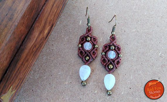 Macrame earrings with Rose Quartz and brass beads Macrame