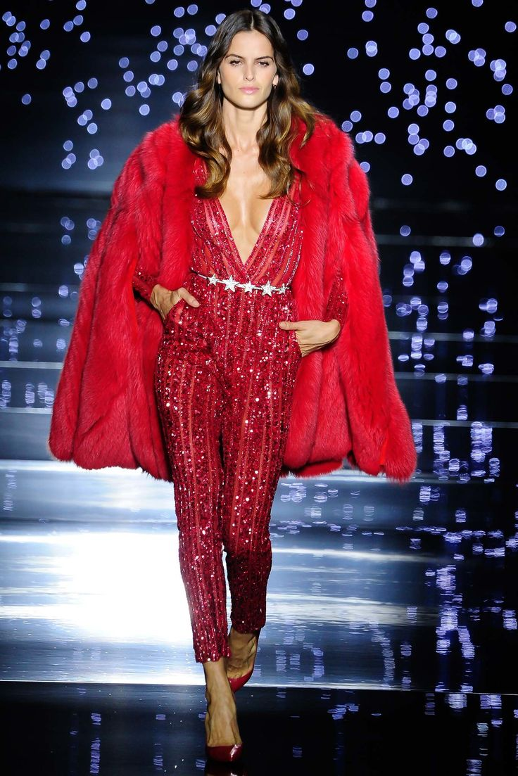 Hot Red Jump Suit with a Matching Red Cover by Zuhair Murad Fall 2015 Couture Collection Photos - Vogue