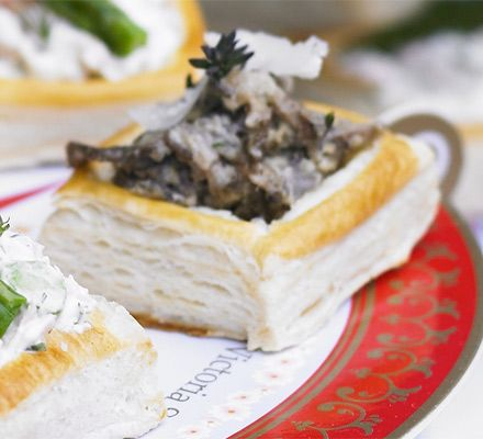 Wild mushroom & Parmesan vol-au-vent filling  For a great tea party canapé, fill puff pastry cases with creamy wild porcini and chestnut mushrooms