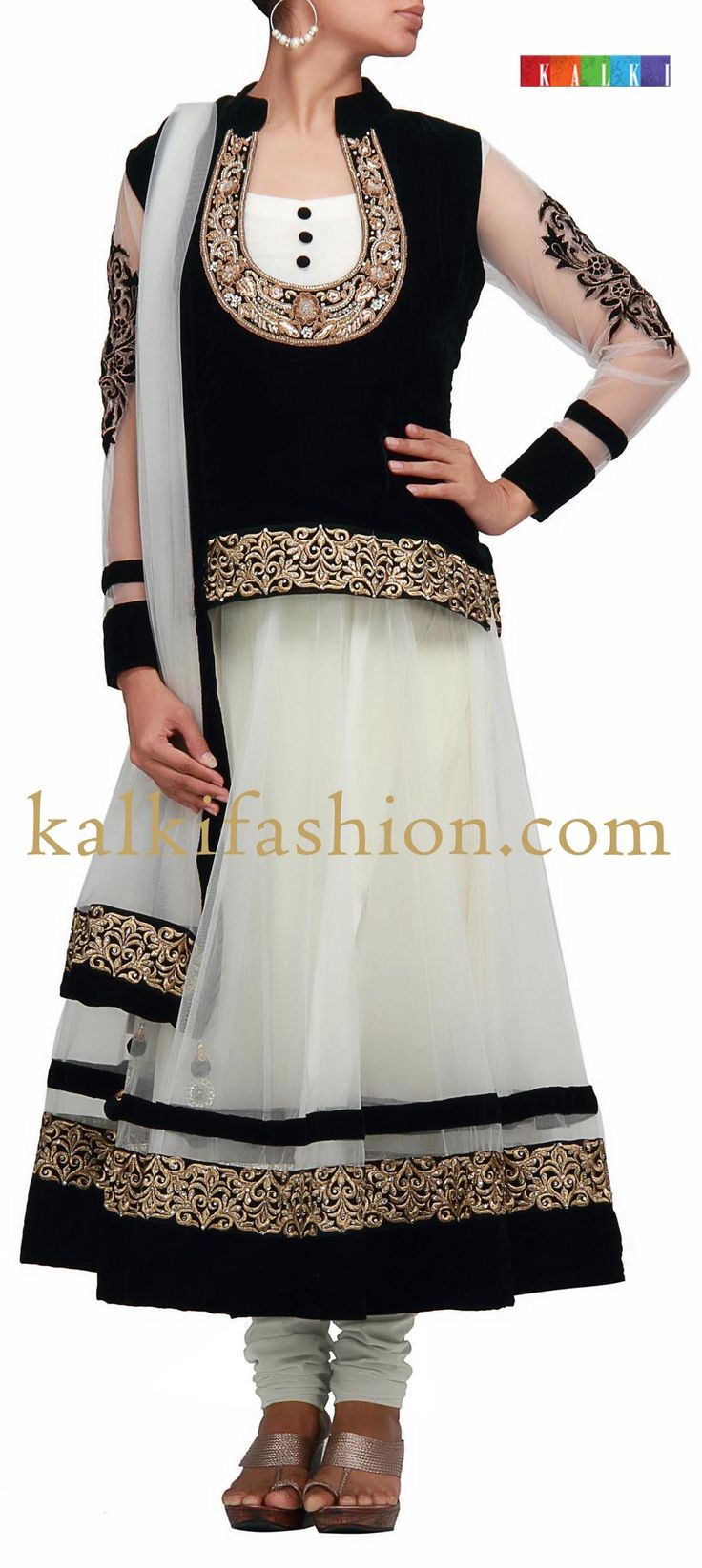 Buy it now  http://www.barcode91.com/white-anarkali-dress-with-black-velvet-top-in-pita-embroidery-by-b91-exclusive.html White anarkali dress with black velvet top in pita embroidery by B91 Exclusive