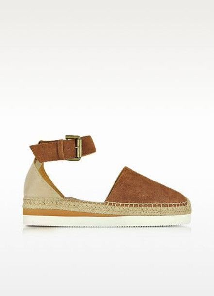 shoes see by chloé tan shoes flat sandal espadrilles espadrilles suede forzieri summer