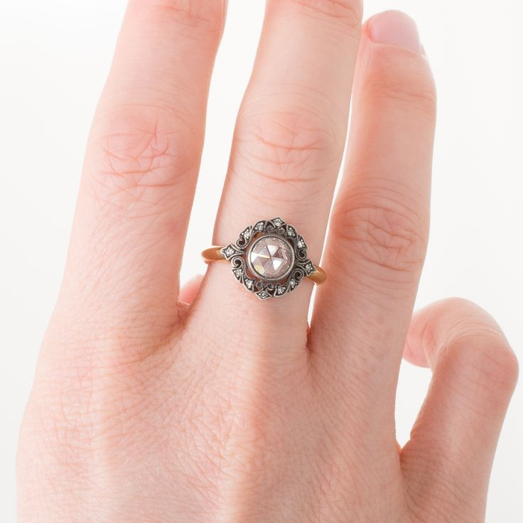 An 18ct oxidised yellow gold antique style ring by Single Stone LA set with a rose cut diamond. View our collection of antique, Art Deco, and modern jewellery at www.rutherford.com.au
