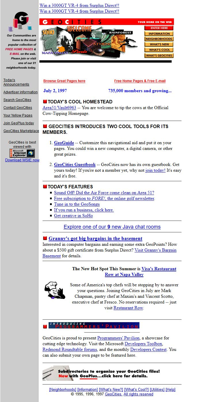 Geocities website in 1997