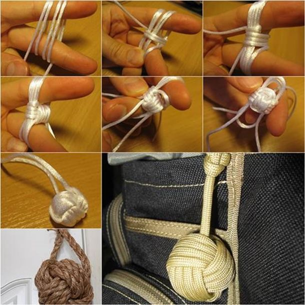 Here is a fun tutorial about how to tie a simple monkey's fist decorative knot .The monkey fist knot is one of the most popular knots in the world. (y)  picture & video tutorials--> http://wonderfuldiy.com/wonderful-diy-tie-the-monkeys-fist-knot/