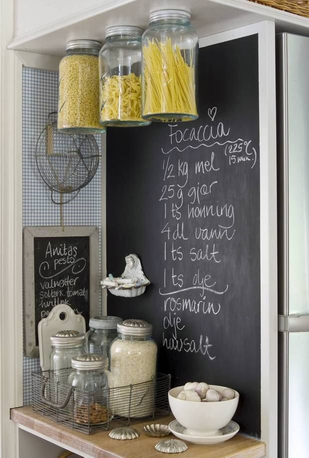Kitchen decor.. love the chalkboard and pasta jars