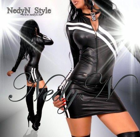 NedyN  bőrhatású női ruha Pántokkal