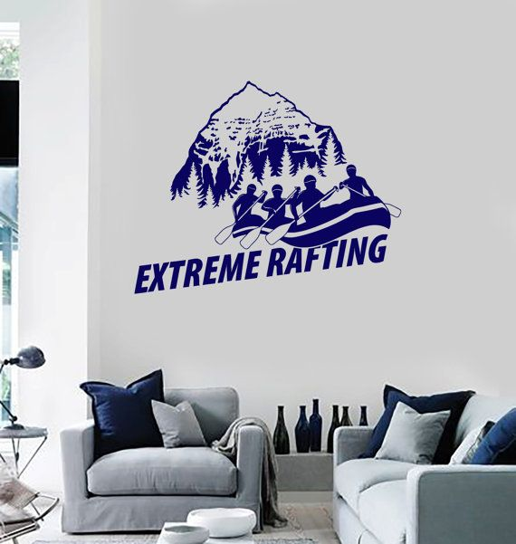 Wall Vinyl Decal Mountains View White Water Rafting by BoldArtsy