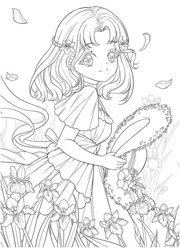 Download Tatacat Flower Fairy Dress Coloring Book Pdf Printable Hd Manga Coloring Book Chibi Coloring Pages Coloring Books