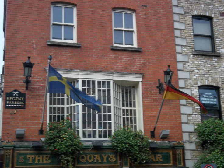 Sweden and German Flags flying in Temple Bar.