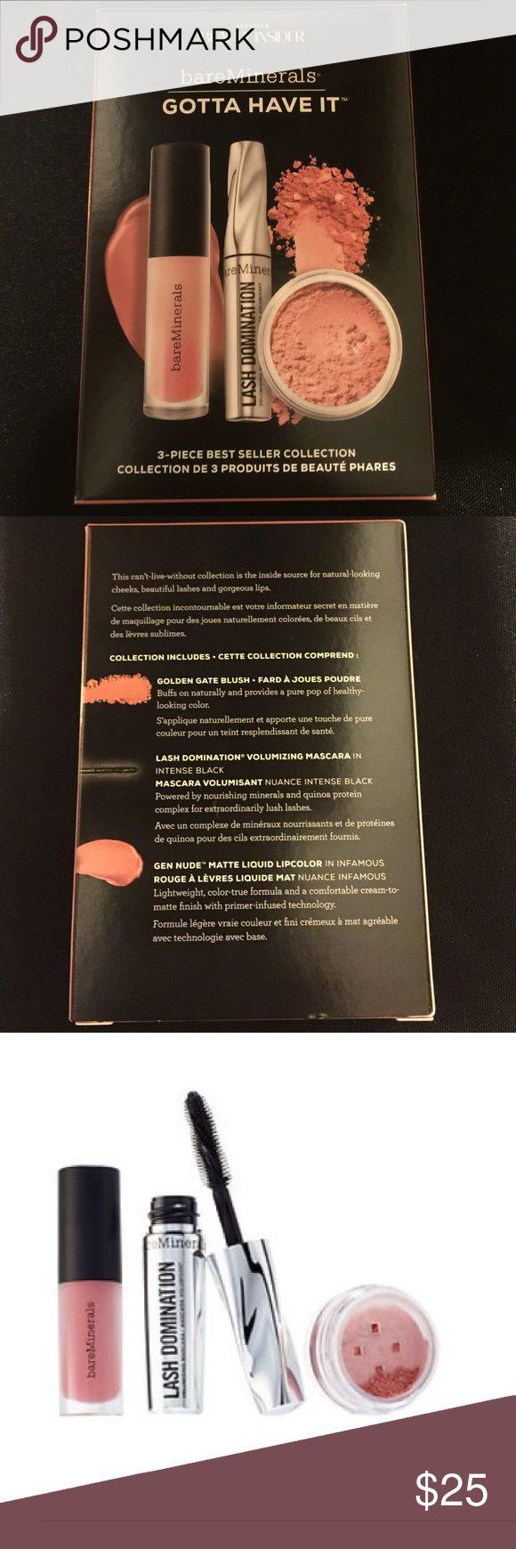 Bare Minerals Set: Matte LipStick, Mascara, Blush Bare Minerals Set: Matte LipStick Gen Nude, Las Domination Mascara, Golden Gate Blush, Brand New. Authentic. Sephora Makeup