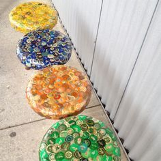 bottle caps bar stools or could also be used as stepping stones for a garden