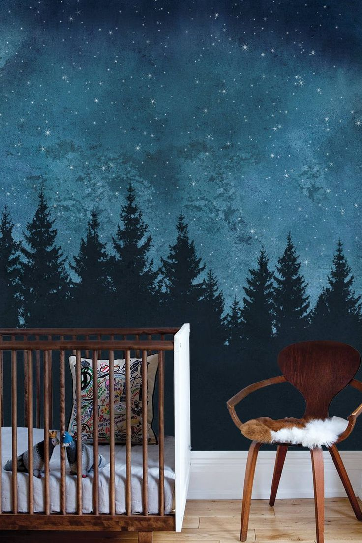 Turn Any Room Into A Nighttime Forest Scene With This Mural Wallpaper Wall Art Wallpaper Mural Wallpaper Forest Mural