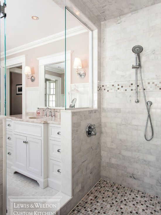 Fabulous Pink And Gray Bathroom With Walk In Doorless Shower Enclosure With  Marble Tiled Walls And Ceiling.