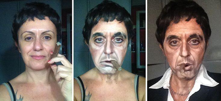 La make-up artist Lucia Pittalis se transforme en personnages célèbres : Scarface