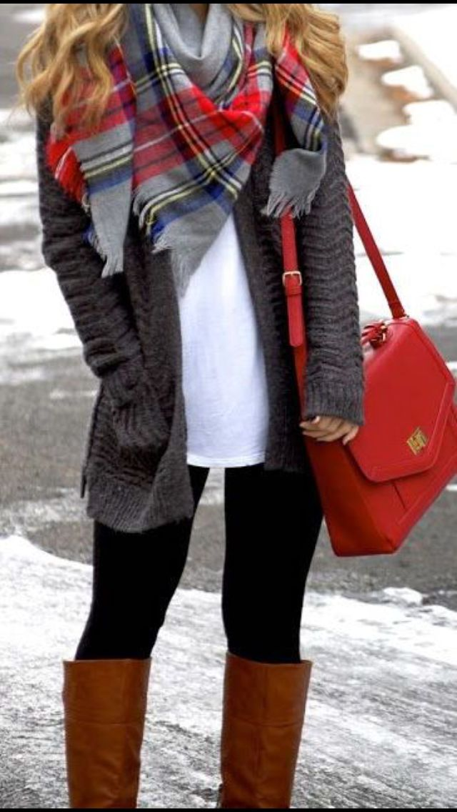 Perfect holiday colors. Blanket scarf, black skinny jeans, white tee, cardigan, brown boots and pop of red bag. Get your own personal Stitch Fix stylist for $20!