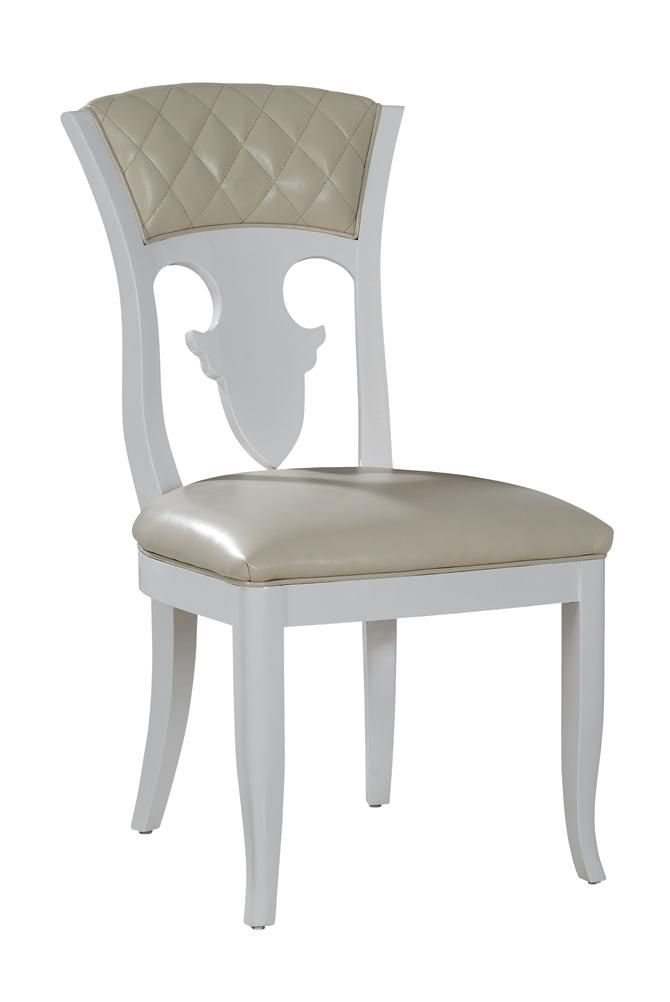 "Temptation Othello Modern Leather Dining Chair. The temptation collection features unique transitional and modern furniture that you won't find anywhere else. Made of high quality materials and feature a very unique design. Dimensions  Chair: W20.5"" x D25.2"" x H38.6"" Solid wood: Birch from Southwestern BurmaCover: Italian top leatherFinish: Piano baking finish white glossOthers: High density resilient foam Color:  Multi-Toned Finish:   Product ID(s):  13316"