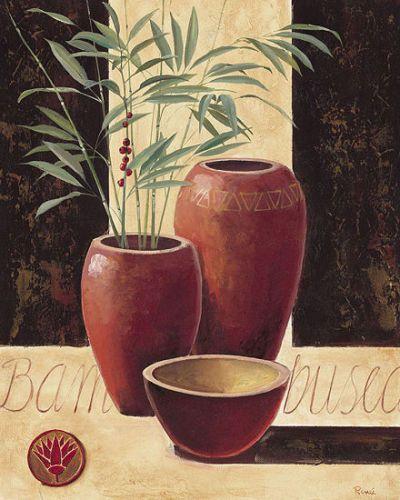 Renee-Bambuseae-in-red-vases-Stillleben-Fertig-Bild-40x50-Wandbild-Vasen