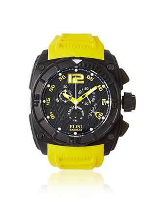 86% OFF Elini Barokas Men's 17012-BB-01-YLSA Commander Yellow/Black Silicone Watch