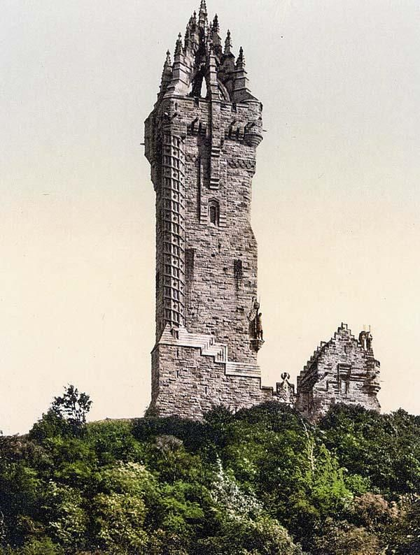 Wallace Monument is a tower standing on the summit of Abbey Craig, a hilltop near Stirling in Scotland. It commemorates Sir William Wallace, a 13th-century Scottish hero. ~ Stirling, Scotland