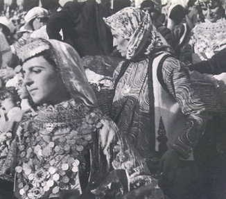 'The Dance of Trata', a traditional feast held in Megara on the third day after Easter. Girls in traditional dress: photographed by Nelly's between 1933 to 1939.