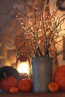 Falling for Home Decor: Decor Ideas, Fall Decor, Buckets, Pumpkin, White Lights, Falldecor, Lights Branches, Lanterns, Front Porches