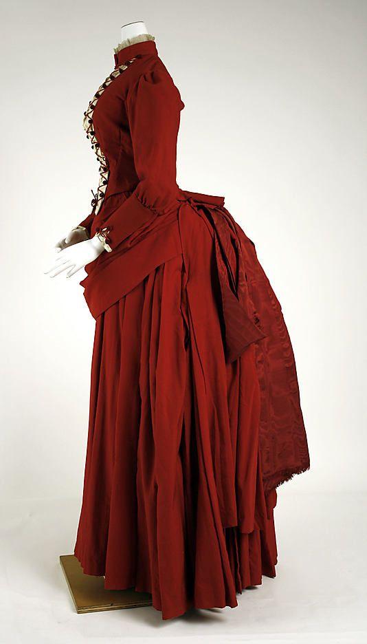 Dress, ca. 1887, American, wool, silk, Metropolitan Museum of Art