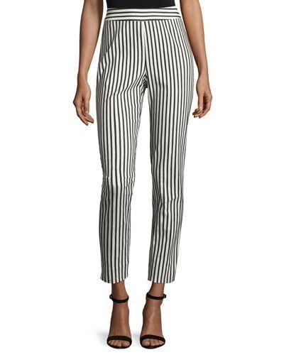 St+John+Collection+Emma+Cabana+Stripe+Denim+Ankle+Pants+Caviar+Bianco+|+Clothing