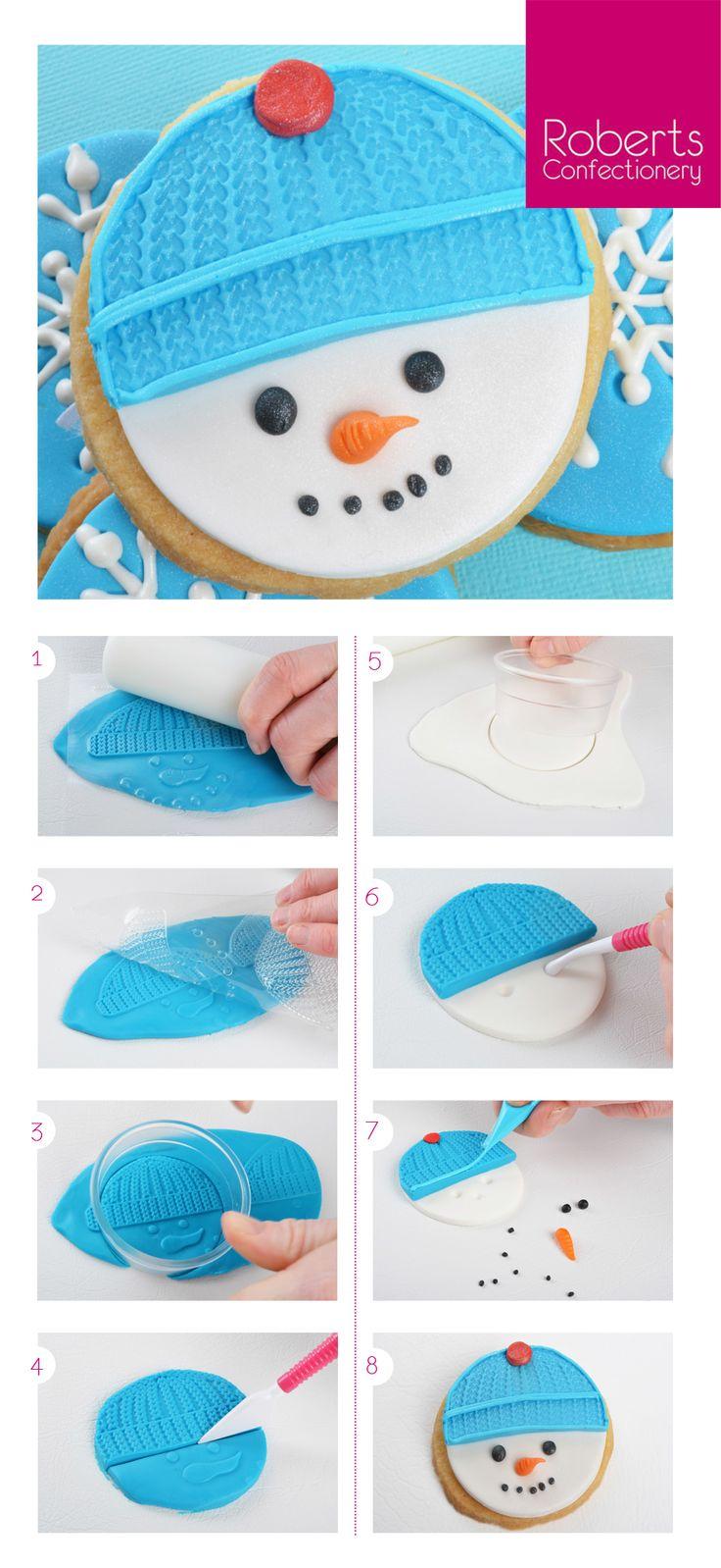 Snowman Cookie using Satin Ice Fondant @satinfinefoods #christmas #cookie