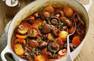 Mushroom Bourginon - good as veg stew with crusty bread or as a side for meat-eaters