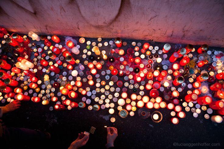 Candles of Memory 17th November After 25 Years Reminder of Velvet revolution and fall of communism, Národní Třída, Prague, Czech Republic, 2014, © lucia eggenhoffer