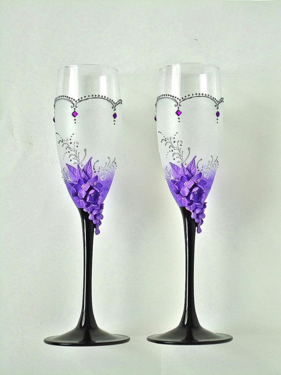 Spring Lilac Wedding Champagne Glasses Toasting от JoliefleurDeco