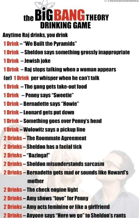 Drinking game. My bf and I love this show. Next time we watch it we need to play this