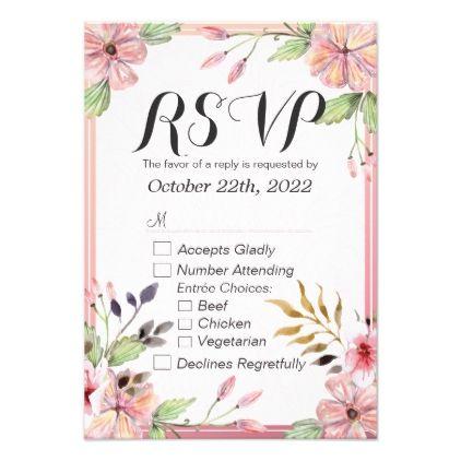 #bridal - #Modern Watercolor Floral Script Wedding RSVP Reply Card