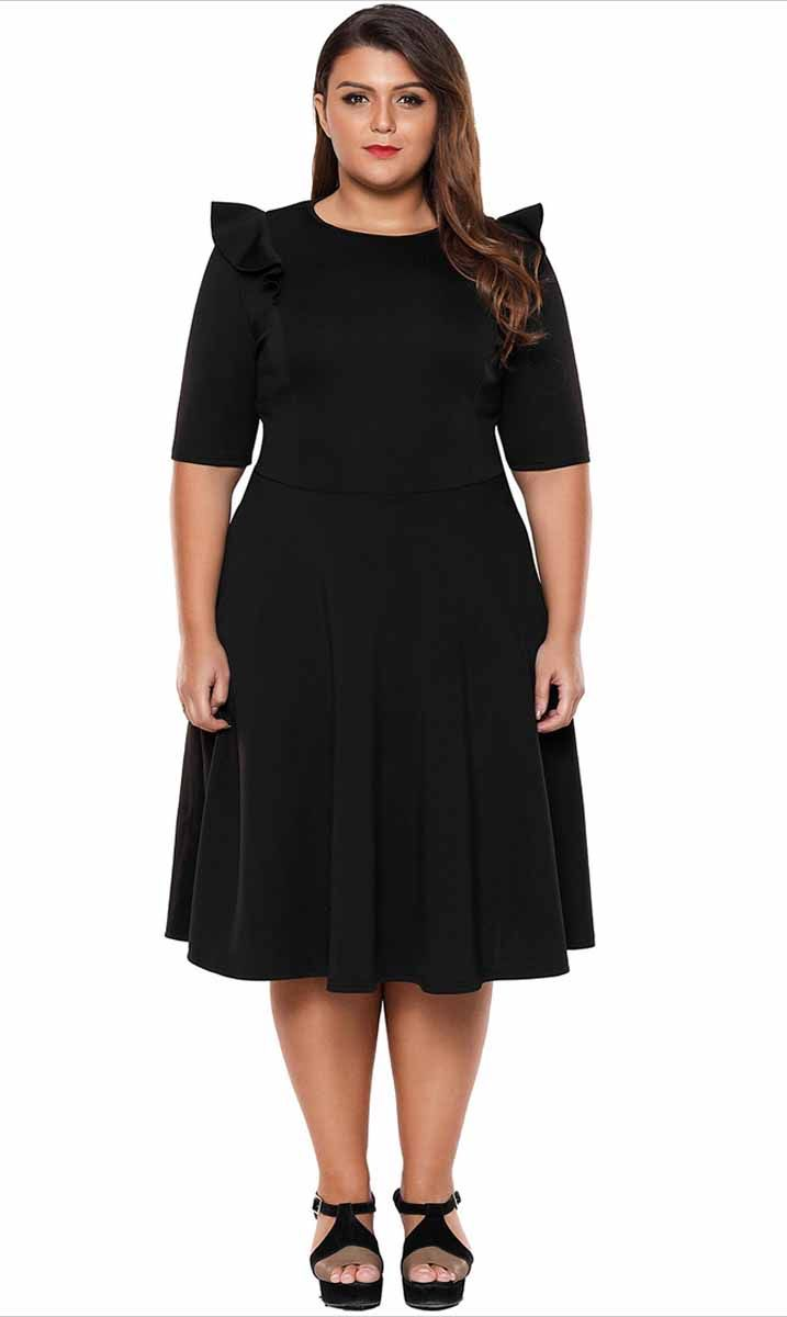 Women s  black mid sleeve  PlusSize midi  dress in plain design f311826b1