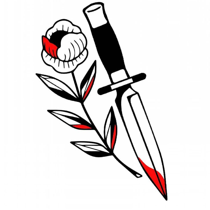 #tattoo  #tattoodesign  #illustration  #design  #knife  #flowers  #flower  #blacktattoo  #blackwork  #ink
