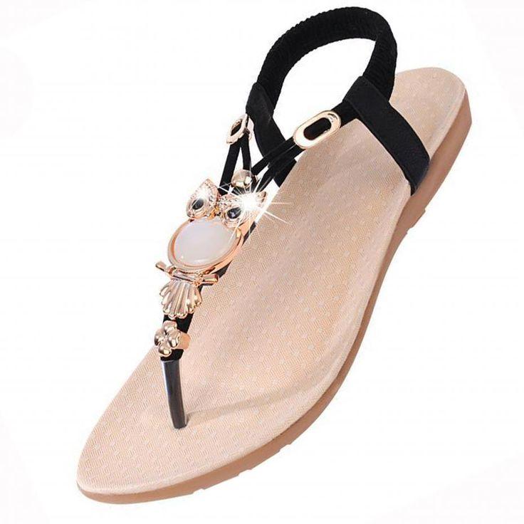 Neue Produkte DEELIN Summer Rhinestone Women Flat Sandals for Women Fashion Casual Sandals Comfortable Beach Shoes (36, Silber)