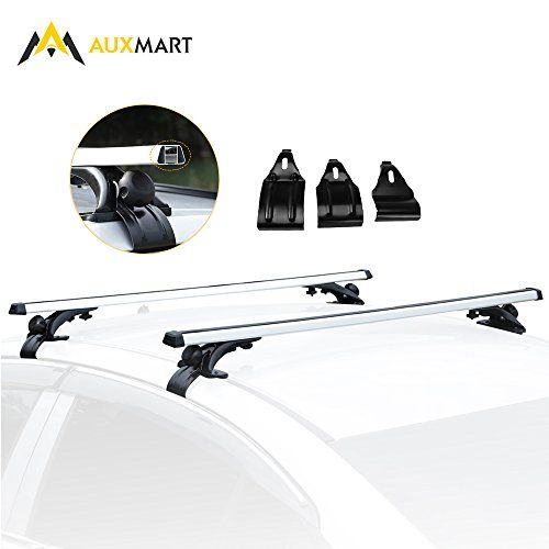 "AUXMART Roof Rack Crossbars Bar Set Car Roof Width Less than 48"" Adjustable for Most Vehicle Wagon Car without Roof Side Rail (Pack of 2) 150LBS /68KG Capacity - Note: Not Suitable for KayakAttention: The product placed above the roof rack should follow the dimension standard, the average height of the rack is 2*32cm, the width is the Maximum length of the rod rack. If the product is beyond that dimension, please pay attention to your driving speed.Apply ..."
